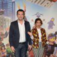 Arnaud Ducret et Tal lors de l'avant-première du film La Grande Aventure Lego au cinéma Gaumont Opéra à Paris, le 16 février 2014