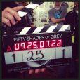 E.L. James immortalise le tournage de Fifty Shades of Grey (Cinquante Nuances de Grey), le 1er décembre 2013.