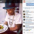 Alexandra Rosenfeld poste une photo de Pharrell Williams mangeant la salade Alexandra de Jean Imbert, le 24 février 2014