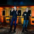 Tony Carreira et Jacques Veneruso. Showcase pour le lancement de l'album de Tony Carreira,  Nos fiançailles, France/Portugal , au No Comment à Paris, le 23 janvier 2014.