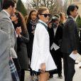 Olivia Palermo arrive au musée Rodin pour assister au défilé Christian Dior. Paris, le 28 février 2014.
