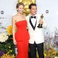 Matthew McConaughey et celle qui lui a remis son Oscar du meilleur acteur, Jennifer Lawrence, lors de la cérémonie des Oscars le 2 mars 2014
