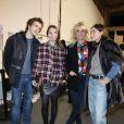 Exclusif - Baptiste Lecaplain, Anne Marivin, la créatrice Sophie Albou et Emmanuelle Béartdans les coulisses du défilé Paul & Joe au Palais de Tokyo. Paris, le 4 mars 2014.