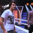 """Amir lors des répétitions dans """"The Voice 3"""", samedi 8 mars 2014 sur TF1."""