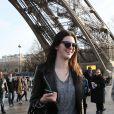 Kendall Jenner a visité la tour Eiffel, à l'occasion de son passage à Paris pour la Fashion Week. Le 27 février 2014.