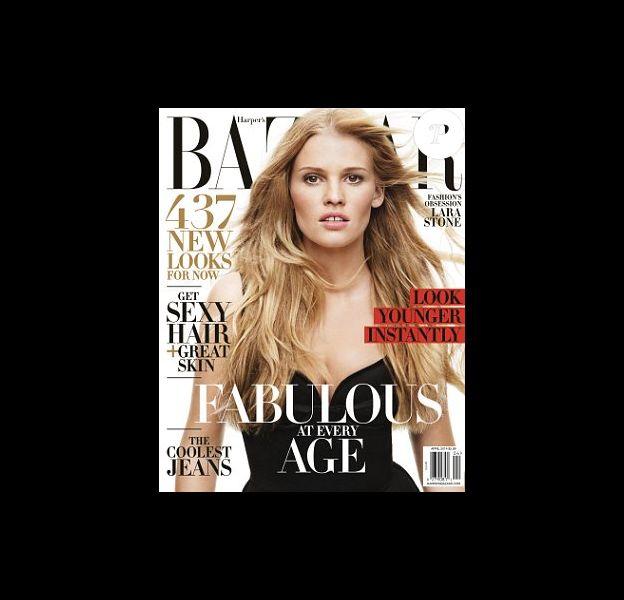 Lara Stone en couverture du magazine Harper's Bazaar