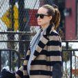 Olivia Wilde, enceinte, rentre chez elle après une séance de gym à New York, le 12 mars 2014.
