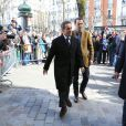 Nicolas Sarkozy et sa femme Carla Bruni sont allés voter ce matin dans le 16ème arrondissement de Paris à l'occasion des élections municipales. Le 23 mars 2014  Former french president Nicolas Sarkozy and his wife Carla Bruni voted this morning in Paris for local elections. On march 23rd 201423/03/2014 - Paris