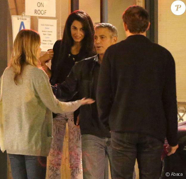 George Clooney et sa nouvelle compagne Amal Alamuddin ont dîné avec John Krasinski et sa femme Emily Blunt dans le restaurant Kazu Sushi à Studio City (Los Angeles) le 27 mars 2014