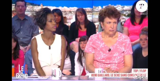hapsatou sy et roselyne bachelot dans le grand 8 sur d8 le lundi 31 mars 2014. Black Bedroom Furniture Sets. Home Design Ideas