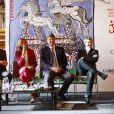 Juan-Carlos Capelli, Virginie Coupérie-Eiffel, Jan Tops et Guillaume Canet lors de la présentation de la 1re édition du Paris Eiffel Jumping, le 8 avril 2014 à l'Hôtel de Ville de Paris.