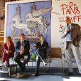 Alain Ducasse s'exprime sous l'oeil de Juan-Carlos Capelli, Virginie Coupérie-Eiffel, Jan Tops et Guillaume Canet lors de la présentation de la 1re édition du Paris Eiffel Jumping, le 8 avril 2014 à l'Hôtel de Ville de Paris.