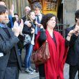 Pierre Wiazemsky dit Wiaz (mari de Régine Deforges) et Camille Deforges-Pauvert (Fille de Régine Deforges et Jean-Jacques Pauvert) - Sortie des obsèques de Régine Deforges en l'église de Saint-Germain-des-Prés à Paris. Le 10 avril 2014.