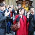 Pierre Wiazemsky (Mari de Régine Deforges) et Camille Deforges-Pauvert (Fille de Régine Deforges) - Sortie des obsèques de Régine Deforges en l'église de Saint-Germain-des-Prés à Paris. Le 10 avril 2014.