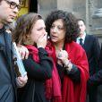 Camille Deforges-Pauvert (Fille de Régine Deforges) et les petits-enfants - Sortie des obsèques de Régine Deforges en l'église de Saint-Germain-des-Prés à Paris. Le 10 avril 2014.