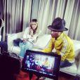 """La belle Enora Malagré et Stéphane Bak ont interviewé Pharrell Williams pour l'émission """"Enora, le soir"""", diffusée sur Virgin Radio. Le 24 février 2014"""