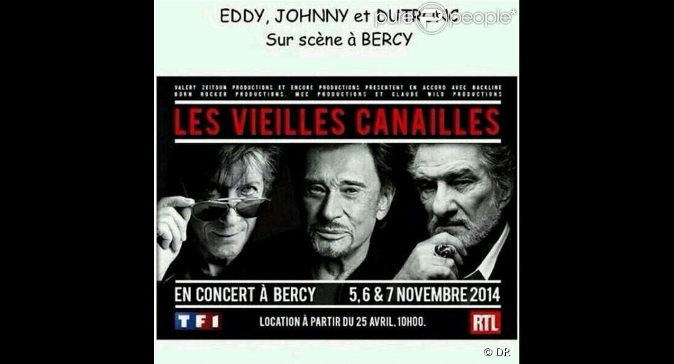 Johnny Hallyday, Eddy Mitchell et Jacques Dutronc - Les Vieilles canailles se produiront sur la scène de Bercy à Paris les 5, 6 et 7 novembre 2014.