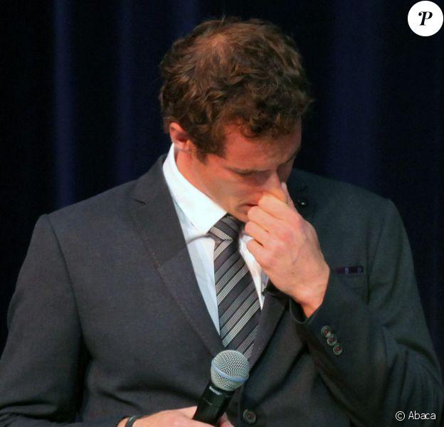 Andy Murray, en pleurs, est nommé citoyen d'honneur de la ville de Stirling (Ecosse) le 23 avril 2014.