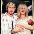 Kurt Cobain, Courtney Love avec leur fille Frances Bean en 1992.