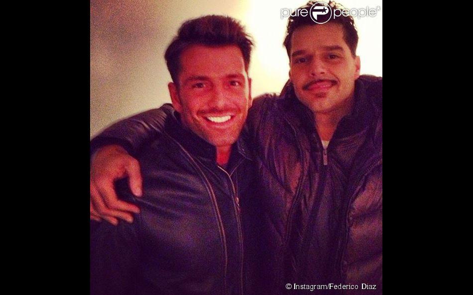 Ricky Martin et Federico Diaz, après une représentation de Evita, le 1er novembre 2012, à New York.