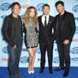 Keith Urban, Jennifer Lopez, Ryan Seacrest et Harry Connick Jr. à la première d'American Idol, à Westwood, le 14 janvier 2014.