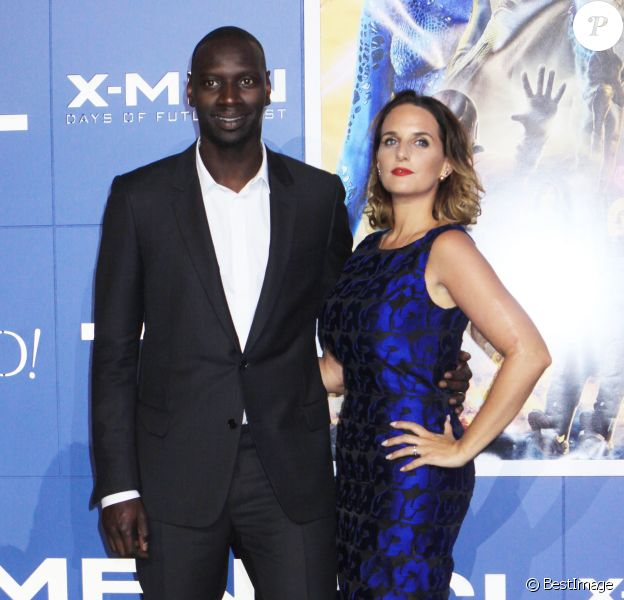 """Omar Sy et sa femme Hélène à la première du film """"Days of Future Past"""" au centre Jacob Javits à New York, le 10 mai 2014."""