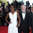 """Aïssa Maiga et Jacques Attali - Montée des marches du film """"Mr. Turner"""" lors du 67ème Festival du film de Cannes le 15 mai 2014"""