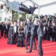 """Clotilde Courau (princesse de Savoie), Gérard Jugnot, Vincent Desagnat, Alice David, Enzo Tomasini - Montée des marches du film """"Dragon 2"""" lors du 67e Festival du film de Cannes le 16 mai 2014"""