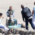 L'équipe de Fast & Furious avec les deux frères de Paul Walker sur le tournage à Malibu, Los Angeles, le 20 mai 2014.