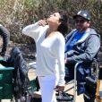 Michelle Rodriguez sur le tournage de Fast & Furious 7 à Malibu, Los Angeles, le 20 mai 2014.