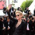 Sharon Stone (56 ans) (portant une robe Emilio Pucci) lors de la montée des marches du film The Search, au cours du Festival de Cannes le 21 mai 2014