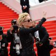 La superbe Sharon Stone (portant une robe Emilio Pucci) lors de la montée des marches du film The Search, au cours du Festival de Cannes le 21 mai 2014