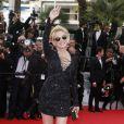 """Sharon Stone (portant une robe Emilio Pucci) - Montée des marches du film """"The Search"""" lors du 67e Festival du film de Cannes le 21 mai 2014."""