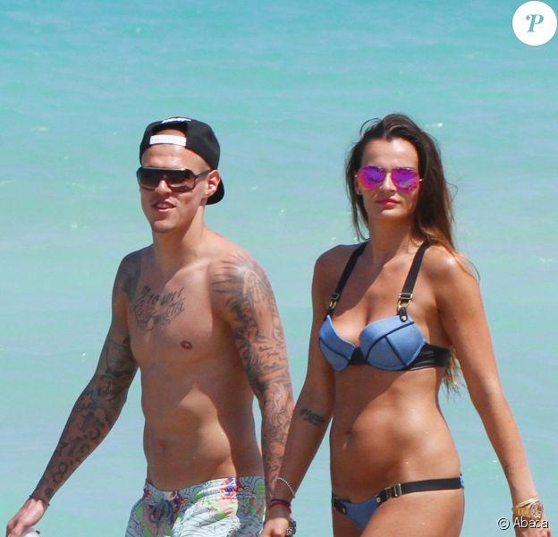 Martin Skrtel et son épouse Barbora Lovasova à Miami Beach, le 23 mai 2014
