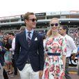 Pierre Casiraghi et sa compagne Beatrice Borromeo le 25 mai 2014 lors du Grand Prix de F1 de Monaco