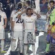 Marcelo fête la victoire en Ligue des champions au stade Bernabeu à Madrid en Espagne le 25 mai 2014.
