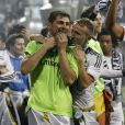 Iker Casillas fête la victoire en Ligue des champions au stade Bernabeu à Madrid en Espagne le 25 mai 2014.