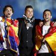 Pepe, Cristiano Ronaldo et Isco - Les joueurs du Real de Madrid célèbrent leur victoire à Madrid en Espagne le 25 mai 2014.