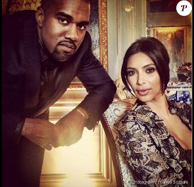 Kanye West et Kim Kardashian au château de Wideville à Crespières, le 23 mai 2014.