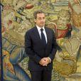 Le roi Juan Carlos d'Espagne reçoit Nicolas Sarkozy pour un entretien au palais de la Zarzuela à Madrid, le 27 mai 2014.