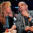 Beyoncé Knowles et Jay Z - Beyoncé Knowles et Jay Z ( copropriétaire de l'équipe de basket ball des Nets de Brooklyn) assitent au match contre Les Rockets de Houston au Barclays Center à New York le 1er avril 2014.  Tv grab of Beyonce Knowles and Jay Z were spotted out at the basketball game, Nets of Brooklyn Vs Rockets of Houston at the Barclays Center in New York on april 1st, 2014.01/04/2014 - New York City