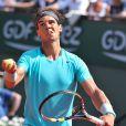 Rafael Nadal lors de son match contre Leonardo Mayer aux Internationaux de France de tennis de Roland Garros à Paris, le 31 mai  2014.
