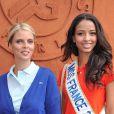 Sylvie Tellier et Flora Coquerel, Miss France 2014, au village Roland-Garros à Paris, le 3 juin 2014.
