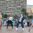 """Silvia Notargiacomo, Jaclyn Spencer, Chris Marques, Fauve Hautot - L'équipe de TF1 de """"Danse avec les Stars"""" donne un show lors du 54e Festival de Télévision de Monte-Carlo, le 8 juin 2014."""