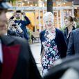 La reine Margrethe II de Danemark arrive pour la première du ballet The Steadfast Tin Soldier à Tivoli, Copenhague, le 16 juin 2014.