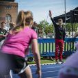 Le prince Frederik de Danemark inaugurait les jeux olympiques scolaires au stade Oesterbro à Copenhague, le 17 juin 2014.