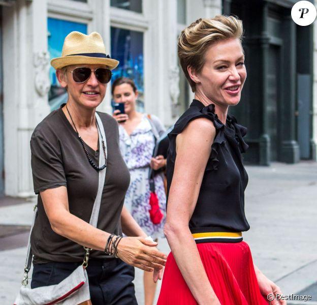 Ellen DeGeneres et sa femme Portia de Rossi font du shopping à New York, le 19 juin 2014.