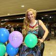 Eliana Guercio, femme de Sergio Romero, à l'aéroport de Belo Horizonte (Brésil), le 22 juin 2014. Elle rentre en Argentine après avoir rendu visite à son amoureux en pleine Coupe du monde.