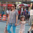 L'ancienne compagne de feu Philip Seymour Hoffman, Mimi O'Donnell, avec leurs filles Tallulah (8 ans) et Willa (6 ans) à New York le 21 juin 2014