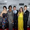 """Margaret Qualley, Amanda Warren, Charlie Carver, Emily Meade et Max Carver lors de la présentation de la série HBO """"The Leftovers"""" à New York le 23 juin 2014"""